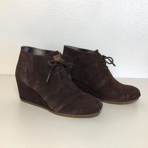 TOMS Desert Ankle Booties in Brown Suede